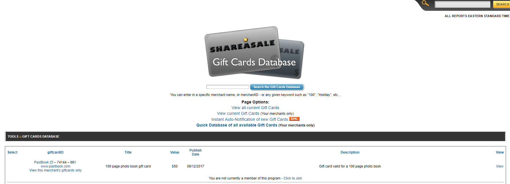 Shareasale's Gift Card Database